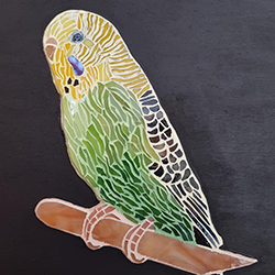 Bespoke Parrot pet portrait made by China Petals using mosaic techniques