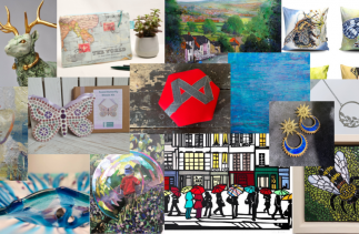 montage of work from the Banks Mill Makers Facebook Group including jewellery, art, ceramics, glass and upcyling