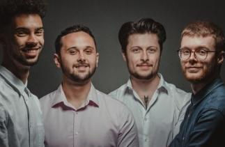 Picture of the Goldbox team, left to right Ohdran Taylor, James Heaney, Josh Spaticchia and Ben Collison