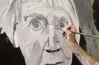 Portrait being painted by John McDonald
