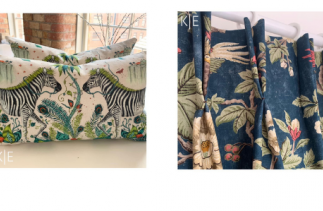 Bespoke cushions with Zebra print and green roman blinds by KE Interiors