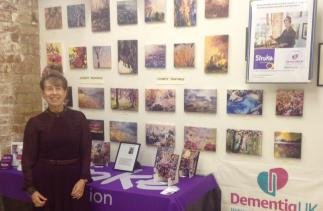 Mary Smith with some of her painting challenge artwork