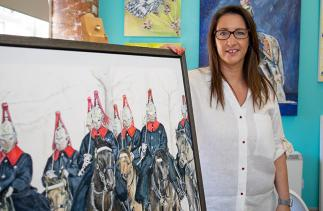 Sarah Perkins Art with her household cavalry painting