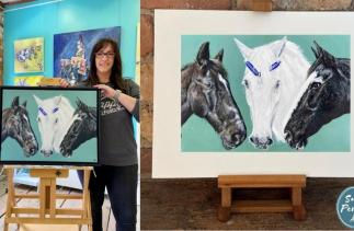 Picture of Sarah Perkins commission of three horses to celebrate the Horse Trust Anniversary