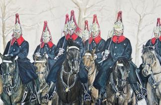 Sarah Perkins Household Cavalry Christmas Card illustration