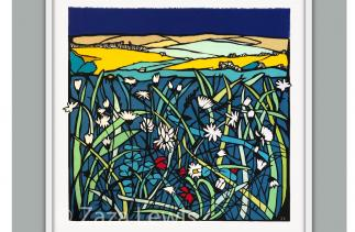 papercut artwork using fabrics for the colours -showing a field of wildflowers