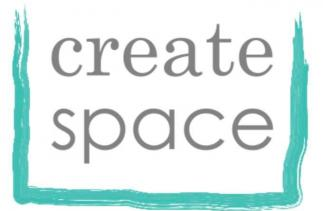 Create Space logo: wording Create Space with a paintbrush square edging